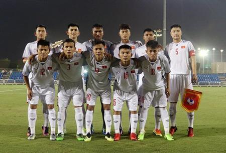 Đội hình ra sân của U19 Việt Nam trước U19 Qatar.