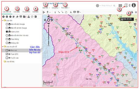 Khai thác dữ liệu GIS trên bản đồ: giao diện hiển thị các lớp bản đồ bao gồm lớp nền và các lớp chuyên đề.