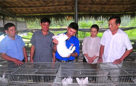 Lãnh đạo xã Lâm Thượng thăm trại thỏ của Phạm Hải Chiều.