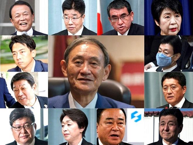 Các thành viên trong Nội các mới của Nhật Bản.