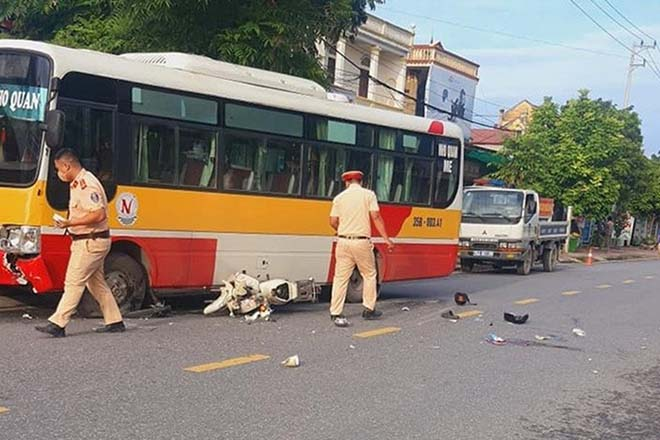 Hiện trường vụ tai nạn khiến 2 học sinh thương vong.