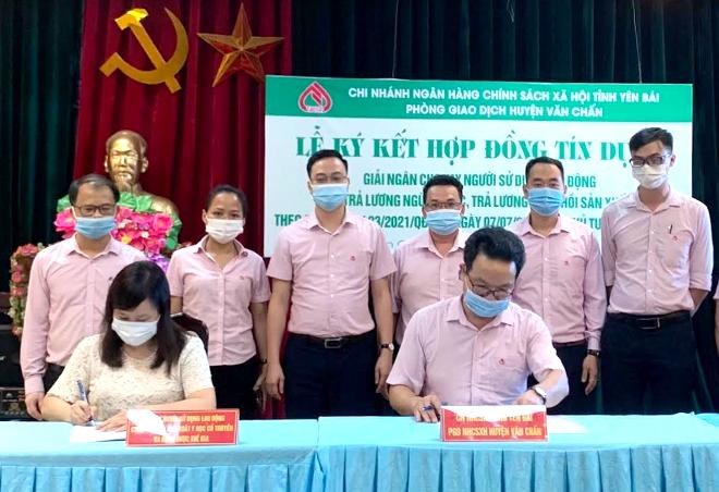Cán bộ Phòng Giao dịch Ngân hàng Chính sách xã hội huyện Văn Chấn giải ngân vốn vay hỗ trợ doanh nghiệp. (Ảnh: T.L)