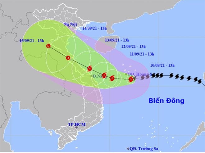 Vị trí và hướng di chuyển của bão số 5.