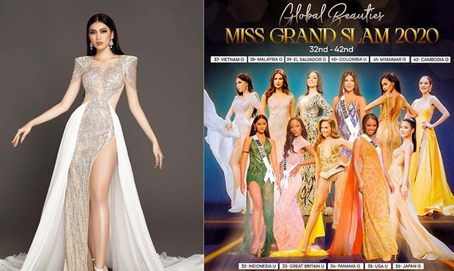 Á hậu Ngọc Thảo xếp vị trí thứ 37 trong cuộc bình chọn Miss Grand Slam 2020.