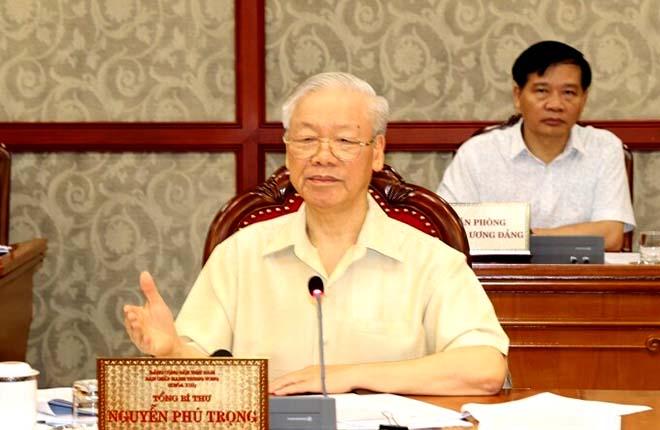 Tổng bí thư Nguyễn Phú Trọng phát biểu kết luận cuộc họp, sáng 17/9.